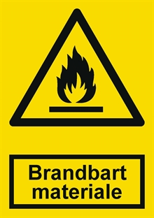 Advarsel brandbart materiale label