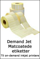 Demand Jet Matcoatede etiketter til brug i on demand inkjet printere